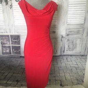 Ralph Lauren Coral Red Slinky Dress